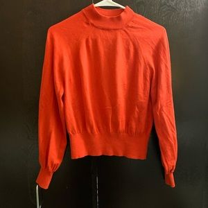 Mango orange/red mock neck cropped sweater